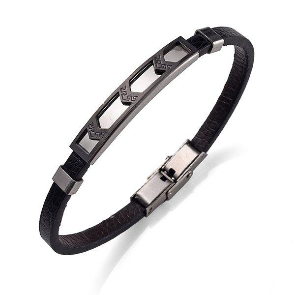 Artificial Leather Stainless Steel Cool Bracelet - BLACK