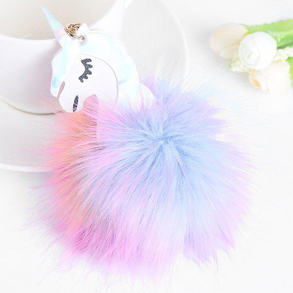 Artificial Leather Fuzzy Ball Unicorn Keychain - WHITE / PURPLE