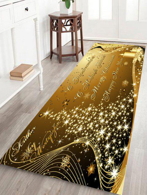 Sparkling Christmas Tree Letter Print Skidproof Fleece Bath Rug - GOLDEN W24 INCH * L71 INCH