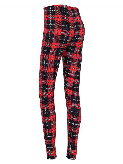 Plaid High Waisted Christmas Leggings - CHECKED L