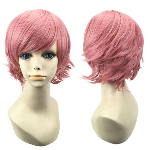 Short Oblique Bang Straight Synthetic Cosplay Wig - PINK