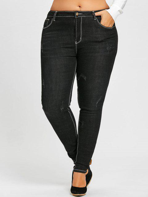 Plus Size Skinny Destroyed Wash Jeans - BLACK 2XL