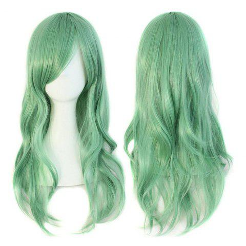 Long Side Bang Wavy Synthetic Cosplay Wig - LAKE GREEN