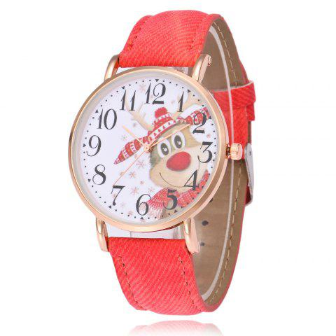 Christmas Deer Face Number Watch - RED