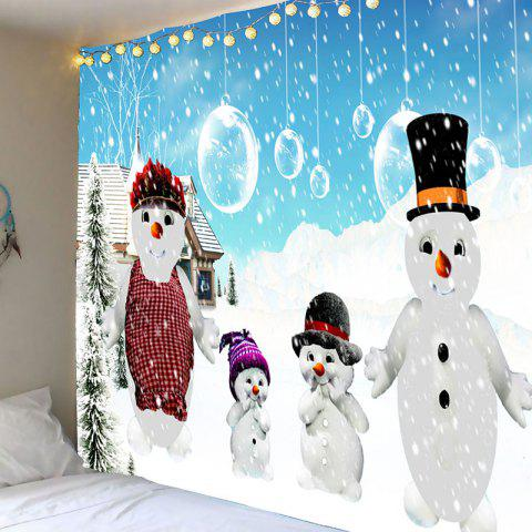 Snowy Christmas Snowmen Family Patterned Tapestry