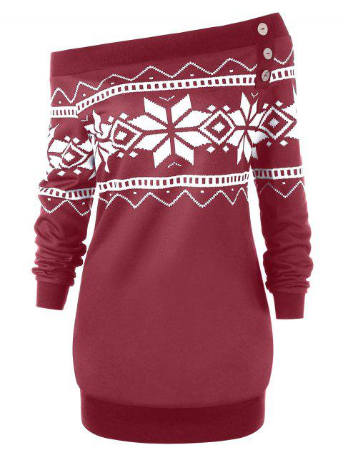 Plus Size Snowflake Geometric Skew Neck Pullover Sweatshirt - WINE RED 5XL