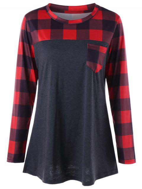 Plus Size Patch Pocket Long Sleeve Plaid T-shirt - RED/BLACK 5XL