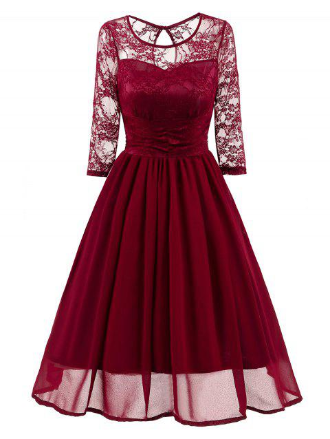 Vintage Lace Mesh Insert A Line Dress - WINE RED 2XL