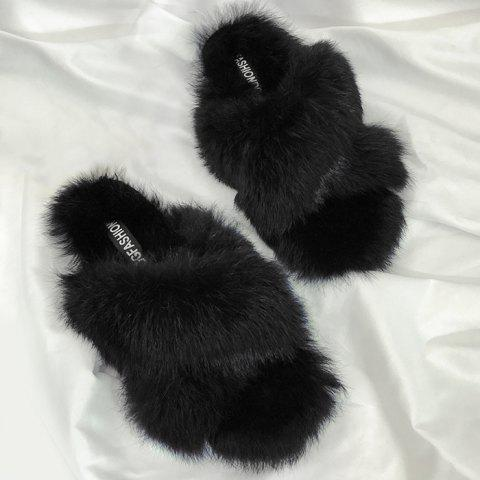 Faux Fur Outdoor Slippers - BLACK 38