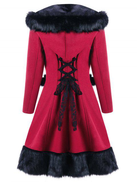 Lace Up Faux Fur Panel Hooded Longline Coat - RED 2XL