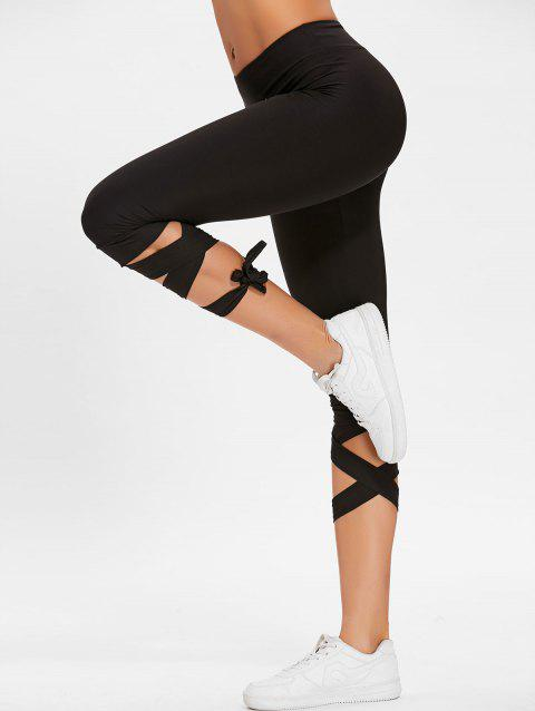 Lace Up High Waisted Gym Pants - BLACK XL