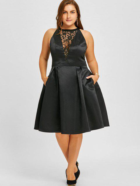 13% OFF] 2019 Plus Size Lace Trim Sleeveless Swing Dress In BLACK ...