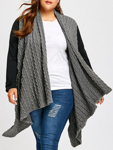 Plus Size Cable Panel Color Block Coat - BLACK/GREY 2XL