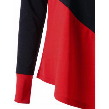 Long Sleeve Color Block Asymmetric Top - RED/BLACK L