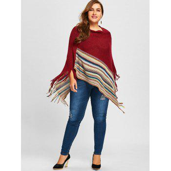 Plus Size Boat Neck Fringed Striped Poncho Sweater - WINE RED ONE SIZE