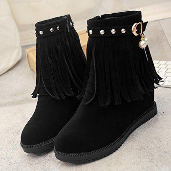Faux Pearl Fringe Studs Height Increase Boots - BLACK 36