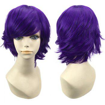 Short Oblique Bang Straight Synthetic Cosplay Wig - DEEP PURPLE DEEP PURPLE