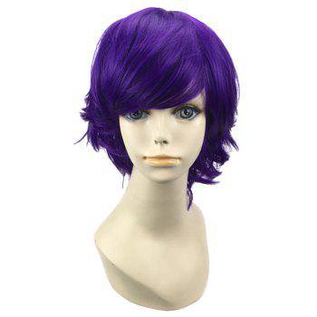 Short Oblique Bang Straight Synthetic Cosplay Wig -  DEEP PURPLE