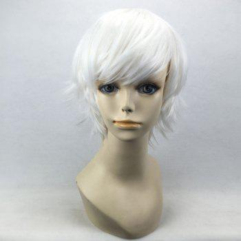 Short Oblique Bang Straight Synthetic Cosplay Wig -  PURE WHITE