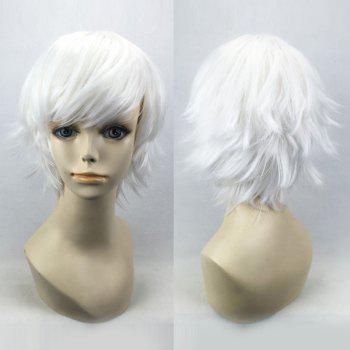 Short Oblique Bang Straight Synthetic Cosplay Wig - PURE WHITE PURE WHITE