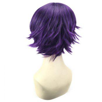 Short Oblique Bang Straight Synthetic Cosplay Wig - BLACK PURPLE