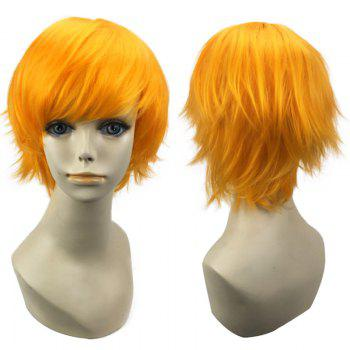 Short Oblique Bang Straight Synthetic Cosplay Wig - YELLOW YELLOW