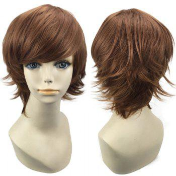 Short Oblique Bang Straight Synthetic Cosplay Wig - COFFEE COFFEE