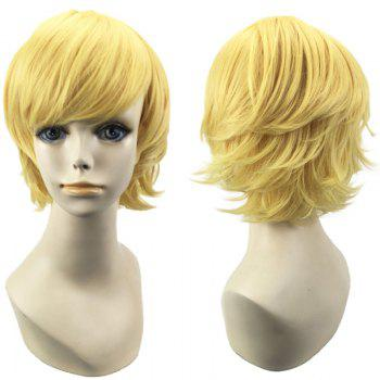 Short Oblique Bang Straight Synthetic Cosplay Wig - GOLDEN GOLDEN