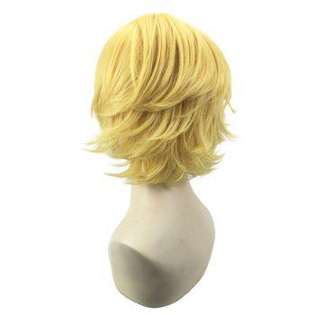 Short Oblique Bang Straight Synthetic Cosplay Wig -  GOLDEN