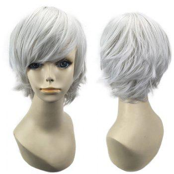 Short Oblique Bang Straight Synthetic Cosplay Wig - FROST FROST