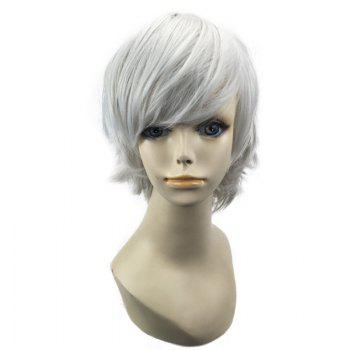 Short Oblique Bang Straight Synthetic Cosplay Wig - FROST