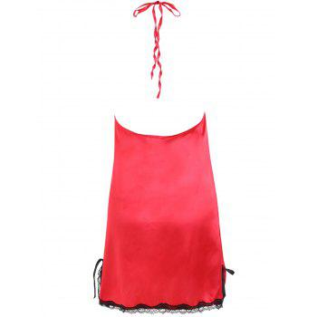 Backless Lace Insert Satin Babydoll - RED L