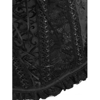 Zip Vintage Lace Trim Brocade Corset - BLACK M