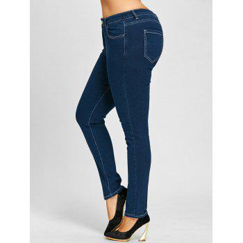 Plus Size Zip Up Stretch High Rise Jeans - BLUE 3XL