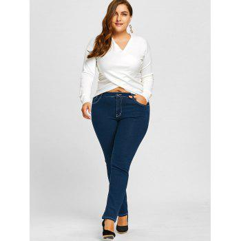 Plus Size Zip Up Stretch High Rise Jeans - BLUE 4XL