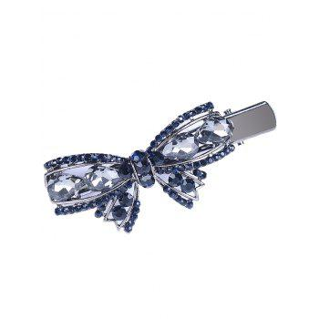 Retro Bowknot Rhinestone Embellished Artificial Gem Hairpin - GRAY GRAY