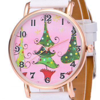 Christmas Tree Face Number Watch -  WHITE