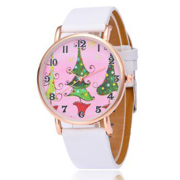 Christmas Tree Face Number Watch - WHITE WHITE