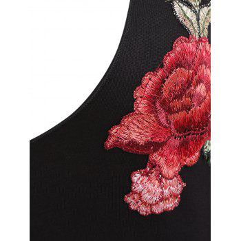 Flower Embroidered Plunge Neck Tank Top - BLACK XL