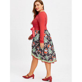 Christmas Plus Size Dip Hem Dress - RED 5XL