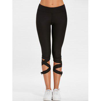 Lace Up High Waisted Gym Pants - BLACK M