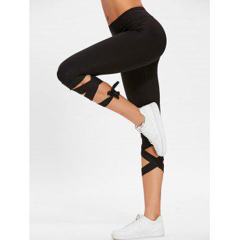 Lace Up High Waisted Gym Pants - BLACK BLACK