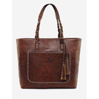 Tassels Whipstitch Braid Tote Bag