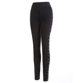 Metal Hoop Decorated Elastic Waist Pencil Pants - BLACK S