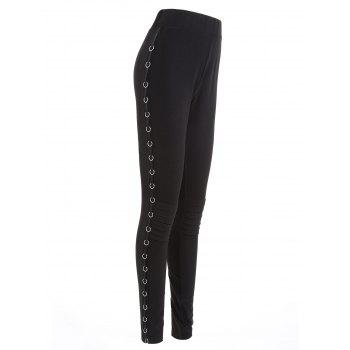 Metal Hoop Decorated Elastic Waist Pencil Pants - BLACK BLACK