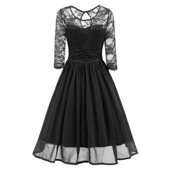 Vintage Lace Mesh Insert A Line Dress - BLACK XL