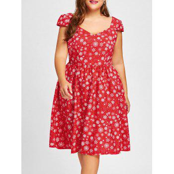 Plus Size Christmas Snowflake Sweetheart Dress - RED RED