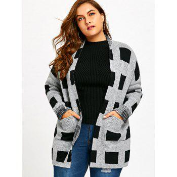 Plus Size Open Front Pockets Plaid Cardigan - PLAID 3XL