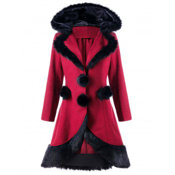Lace Up Faux Fur Panel Hooded Longline Coat - RED M