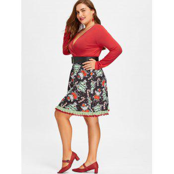 Christmas Plus Size Long Sleeve Skater Dress - RED 4XL